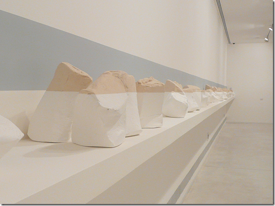 Maya Muchawsky Parnas 'So Far' (detail), 2013, stoneware dipped in limewash, 77 units, various dimensions, installation length 18 m; photo by Orly Nezer