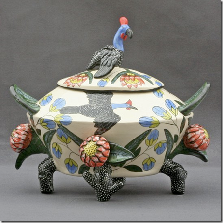Beauty Ntshalintshali and Mavis Shabalala (2009). Guineafowl Tureen,  29 x 35 x 28cm. Masterpiece Collection: Ardmore Ceramics. Photo used with permission.