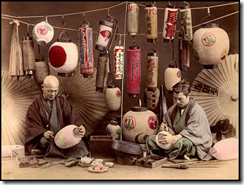 T. Enami,  The Lantern Painters, hand-tinted lantern slide, c.1892–5. Reproduced with kind permission from Rob Oechsle, t-enami.org.