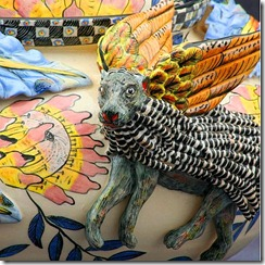 Bernard Zondo and Zinhle Nene (2009). Porcupine Tureen detail, 29 x 27 x 20cm. Masterpiece Collection: Ardmore Ceramics. Photo used with permission.